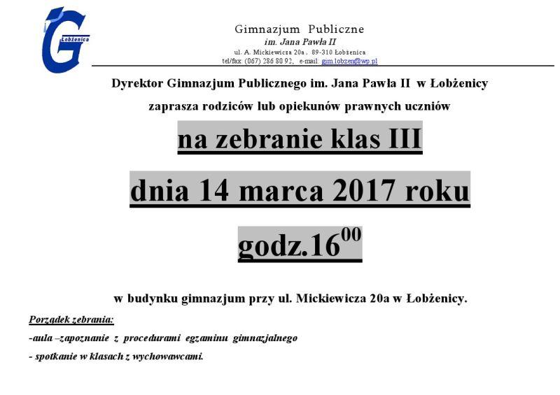 Zebranie zrodzicami  uczniów  klas III 14.03.2017