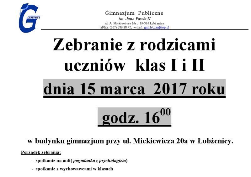 Zebranie zrodzicami  uczniów  klas IiII 15.03.2017